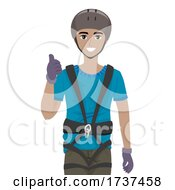 Teen Boy Black Harness Okay Illustration