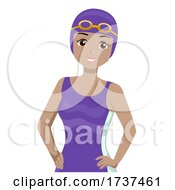 Teen Girl Swimmer Swim Cap Goggles Illustration