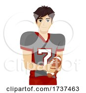 Teen Boy Tackle Football Player Illustration