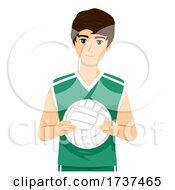 Teen Boy Volleyball Player Illustration
