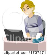 Poster, Art Print Of Teen Boy Watch Porn Laptop Illustration