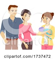 Poster, Art Print Of Teen Girl Baby Parents Illustration