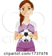 02/23/2021 - Teen Girl Hold Soccer Ball Illustration