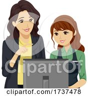 Teen Girl Job Cashier Manager Illustration