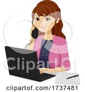 Poster, Art Print Of Teen Girl Job Internship Office Illustration