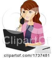 Teen Girl Job Internship Office Illustration