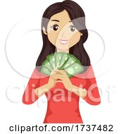 Teen Girl Job Money Illustration