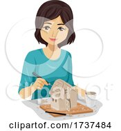 Teen Girl Making Clay House Illustration