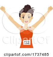 Teen Girl Marathon Runner Illustration