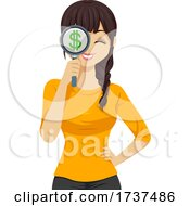 Teen Girl Money Search Illustration