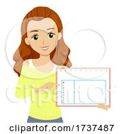 Teen Girl School Activity Calendar Illustration