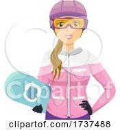 02/23/2021 - Teen Girl Snowboard Helmet Goggles Illustration