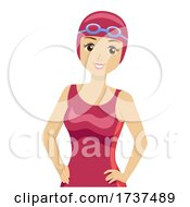 02/22/2021 - Teen Girl Swimmer Goggles Swim Caps Illustration