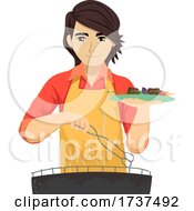 Teen Guy Barbecue Plate Illustration
