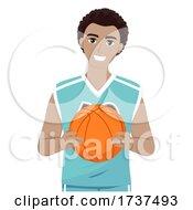 02/23/2021 - Teen Guy Black Hold Ball Basketball Illustration