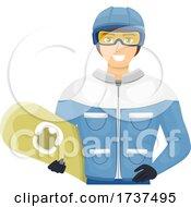 02/23/2021 - Teen Guy Snow Board Helmet Goggles Illustration