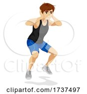 Teen Boy Animal Exercise Bunny Hop Illustration