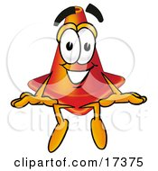 Clipart Picture Of A Traffic Cone Mascot Cartoon Character Sitting