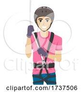 02/23/2021 - Teen Boy Harness Rope Helmet Illustration