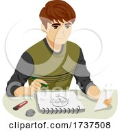 02/23/2021 - Teen Boy Sketch Portrait Picture Illustration