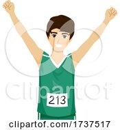 Teen Boy Marathon Runner Illustration