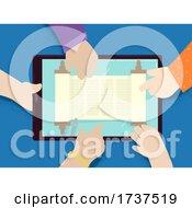 02/23/2021 - Kids Hands Tablet Torah Scroll Illustration
