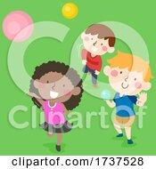02/23/2021 - Kids Throwing Balls Outdoors Illustration