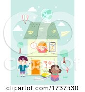Poster, Art Print Of Kids Geography Elements House Illustration