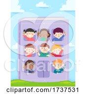 Kids Hold Pencils Book Building Illustration