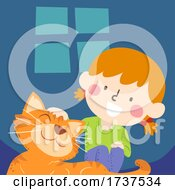 Kid Girl Petting Tabby Cat Pet Illustration
