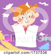 02/23/2021 - Kid Girl Tearing Papers Illustration