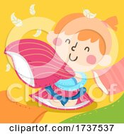 02/23/2021 - Kid Girl Squeezing Pillow Feathers Illustration