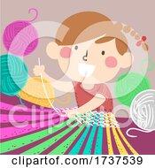 02/23/2021 - Kid Girl Weaving Yarn Illustration