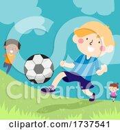 02/23/2021 - Kids Kicking Ball Outdoors Illustration