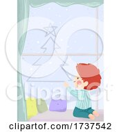 02/23/2021 - Kid Boy Draw Xmas Tree Window Fog Illustration
