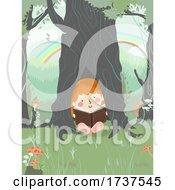 02/23/2021 - Kid Girl Read Inside Tree Trunk Illustration