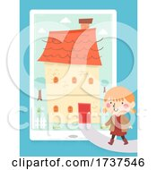 Kid Girl Walk Home Tablet App Illustration