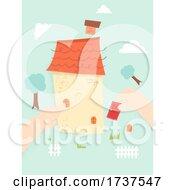 Poster, Art Print Of Kid Hands Assemble House Illustration