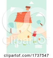 Kid Hands Assemble House Illustration