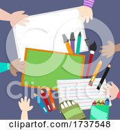 Kids Hand Drawing Different Media Illustration