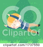 Kid Boy Rolling Grass Illustration