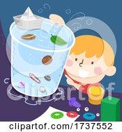 Kid Boy Observe Object Water Behavior Illustration