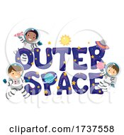 Stickman Kids Astronaut Outer Space Illustration