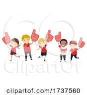 Stickman Kids Cheer Number Foam Hands Illustration