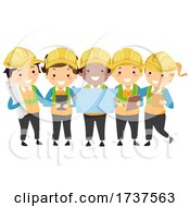 Stickman Kids Engineers Hard Hats Illustration