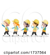 Poster, Art Print Of Stickman Kids Engineers Hard Hat Illustration