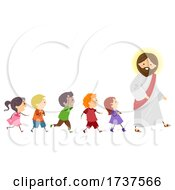 Poster, Art Print Of Stickman Kids Follow Jesus Walk Right Illustration