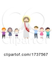 Poster, Art Print Of Stickman Kids Hold Hands Jesus Pray Illustration