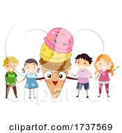 Stickman Kids Ice Cream Day Mascot Illustration
