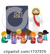 Poster, Art Print Of Stickman Kids Jesus Bible Book Illustration